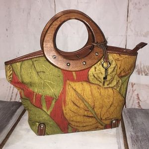 Fossil Bag wooden handle fall colors like new
